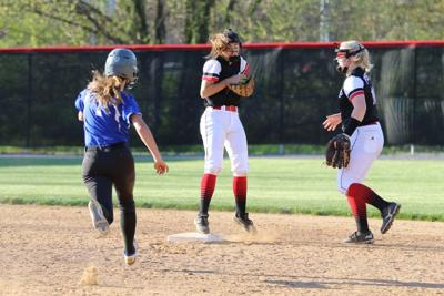 0O6A5529 AShton Buchanan races for second but Whitney Boone snags the infield hit and tags the base. .JPG