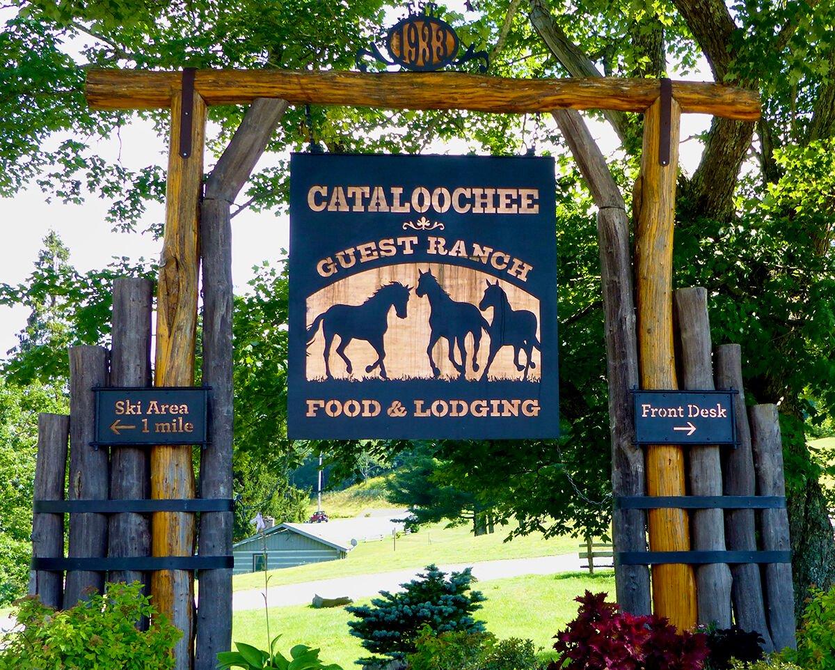 Cataloochee Ranch entrance sign