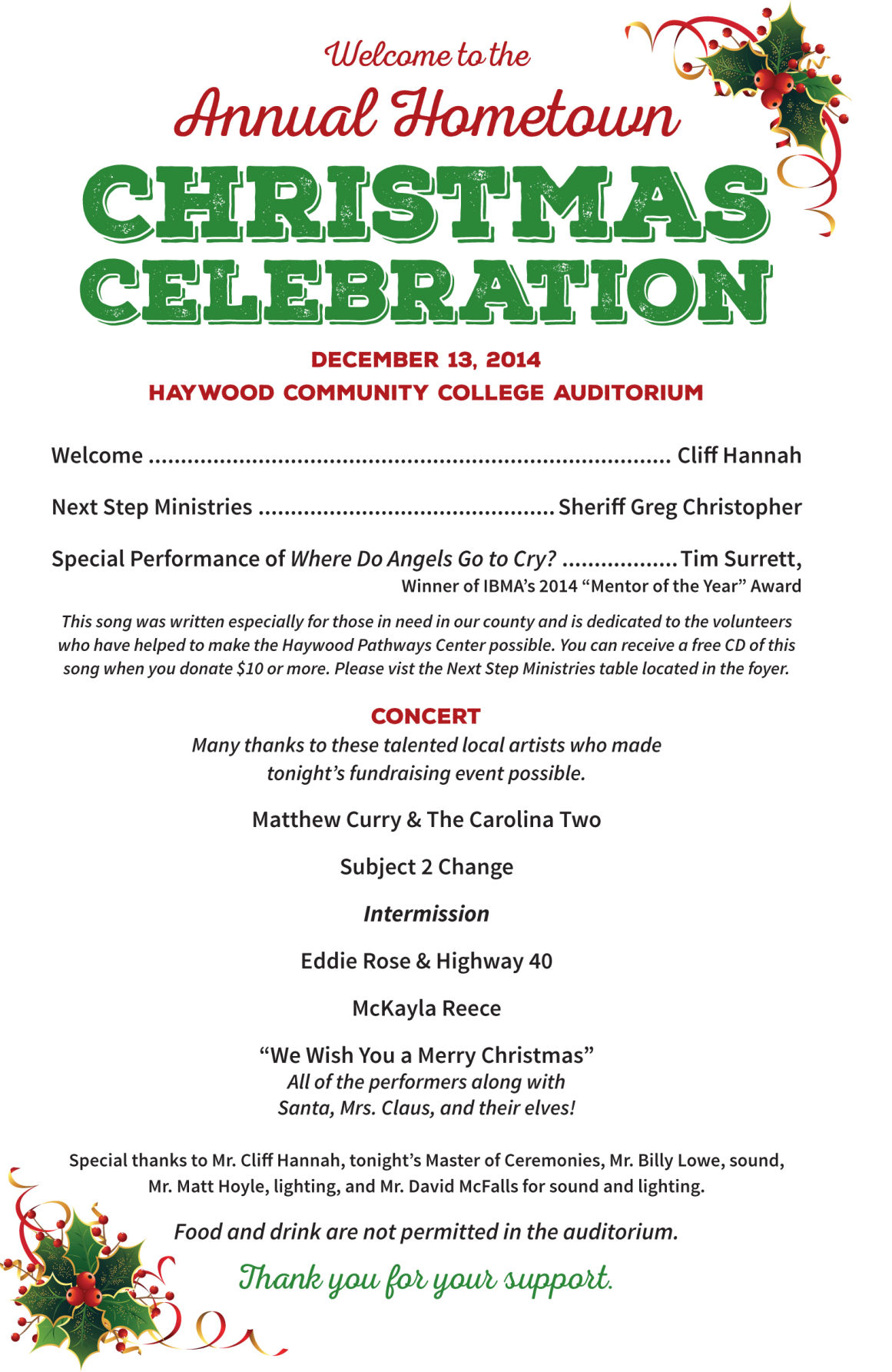 Annual Hometown Christmas Celebration nets $12 000