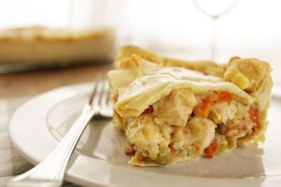 Homemade chicken pot pie filled with chicken and vegetables