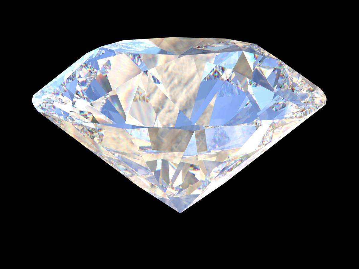 Large Clear Diamond on dark background. 3d