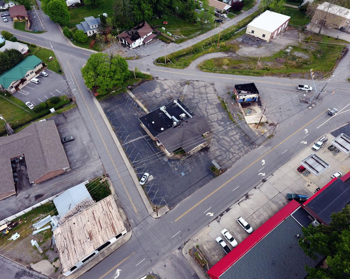 roundabout torn-up buildings aerial.jpg