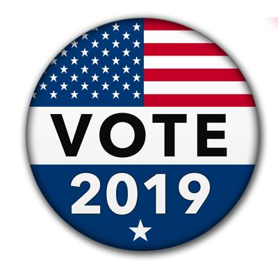 USA Vote 2019 Button with Clipping Path