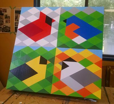 Birds-barns quilt block
