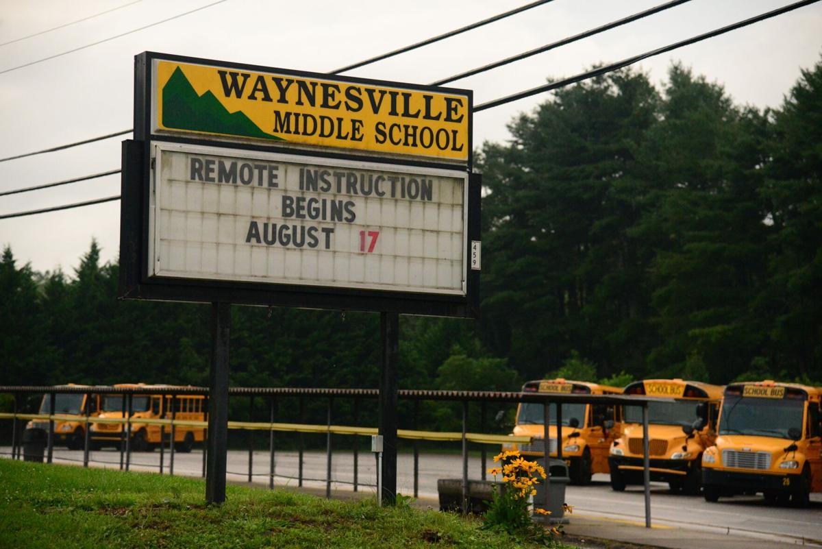 Waynesville Middle remote back to school sign.JPG (copy)