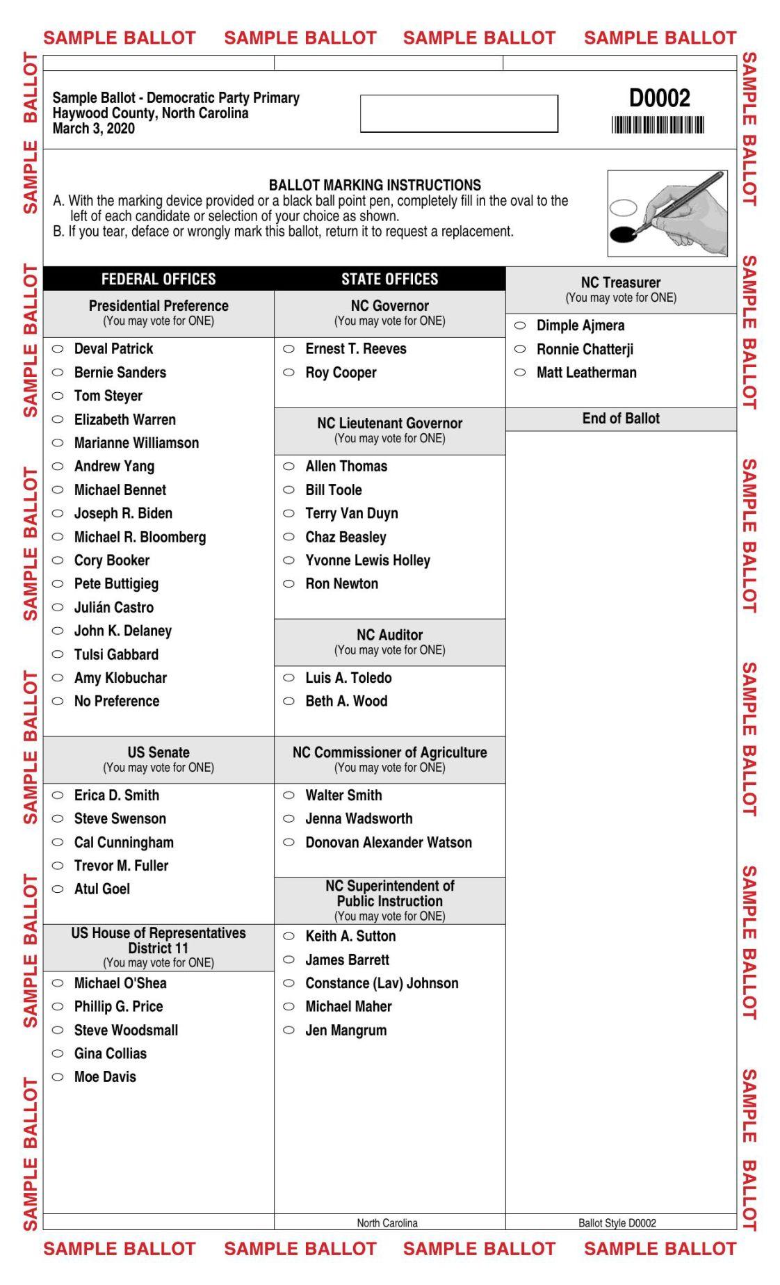 Sample ballot — Democrat