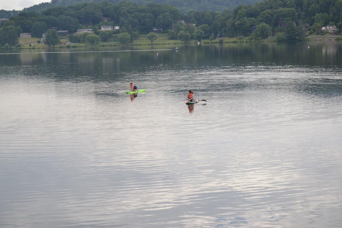 Paddleboarding at lake