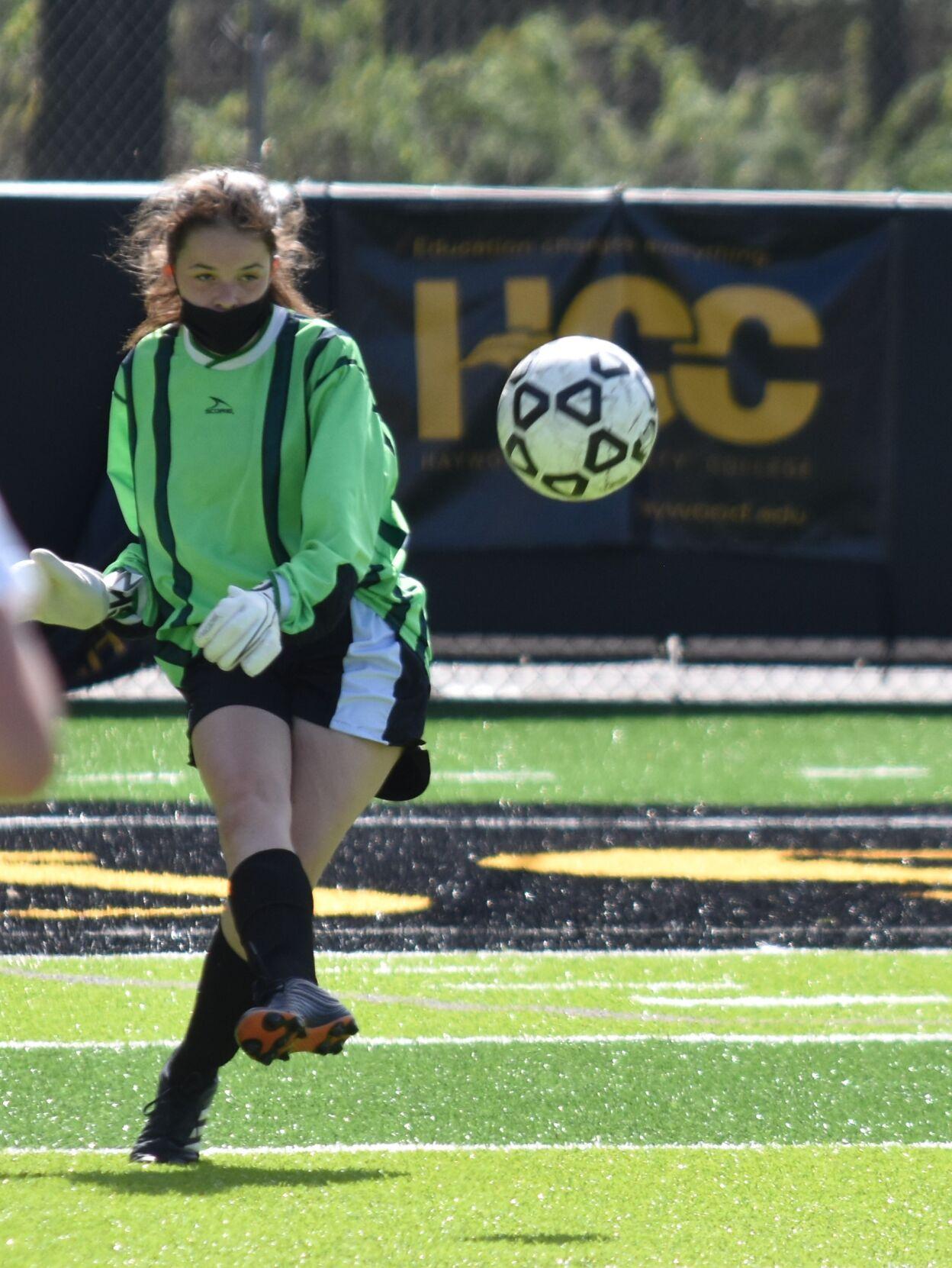 Eireann Morgan kicking the ball out to her team. (1).JPG