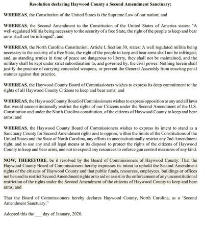 Gun sanctuary resolution