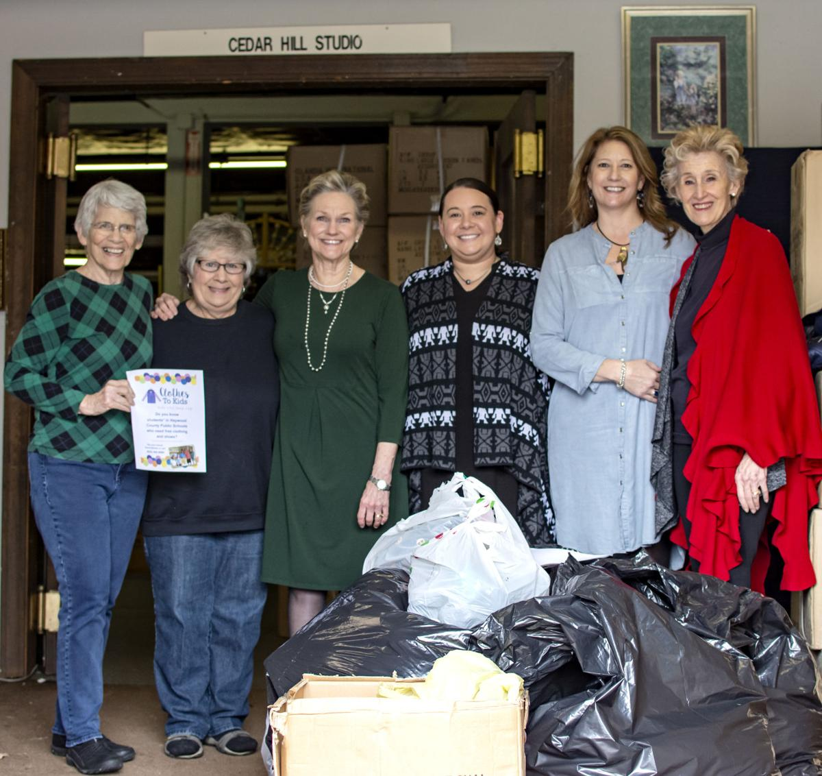 GALLERY ASSOCIATION The Waynesville Gallery Association Clothing Drive Was A Big Success For Clothes To Kids Pictured With Pile Of Donations Are