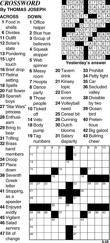 Crossword for September 28th
