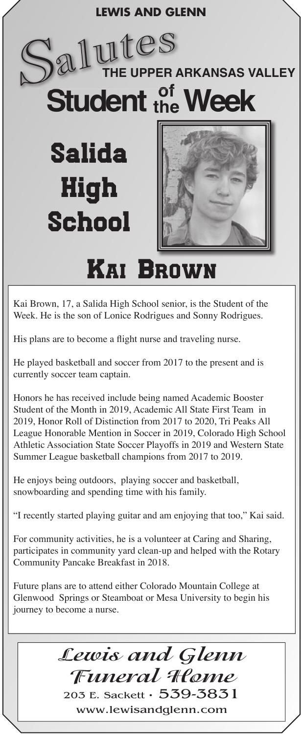 THE UPPER ARKANSAS VALLEY Student of the Week - KAI BROWN