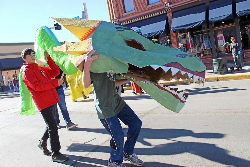 A dragon parades