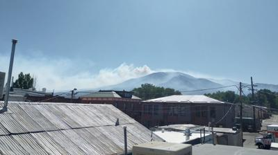 View of Decker Fire from downtown Salida