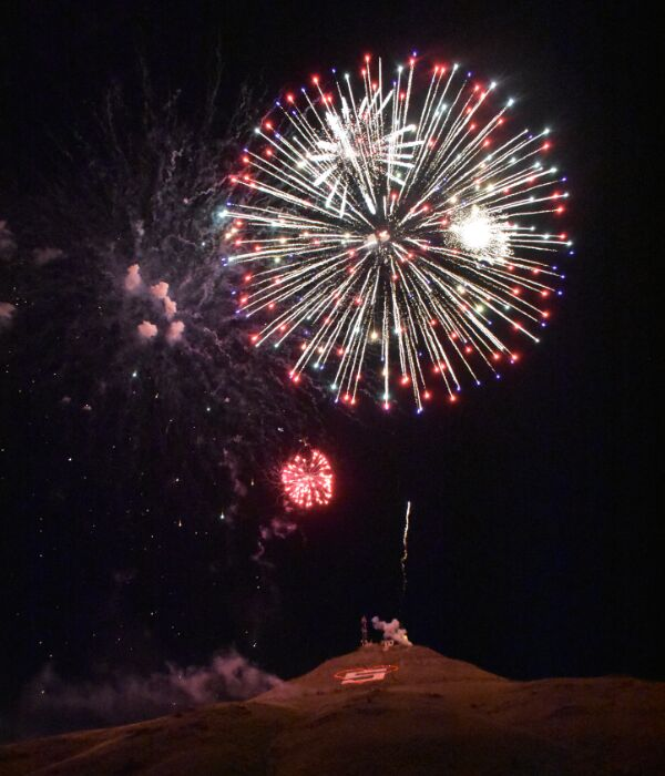 Red, white and blue bursts