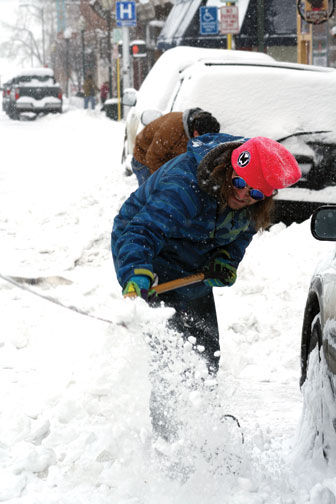 Timmy Wignall, Salida, digs his car out of a snow berm