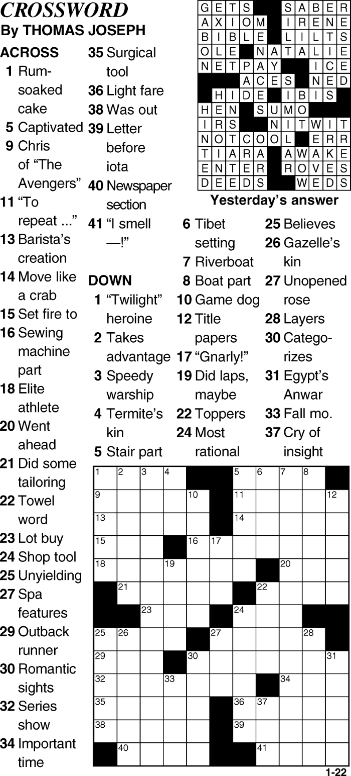 Crossword for January 22nd