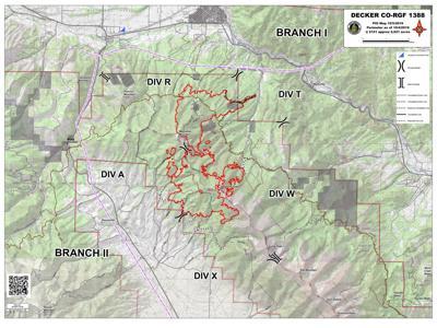 Decker Fire Saturday update map
