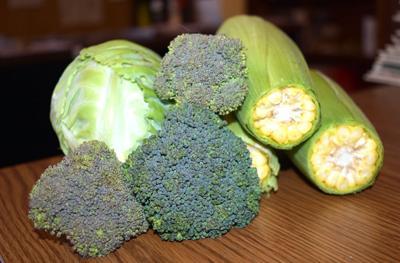 Corn, cabbage and broccoli