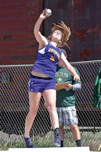 Hope Bondurant competes in the shot put