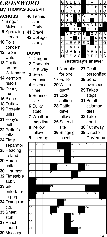 Crossword for July 31st