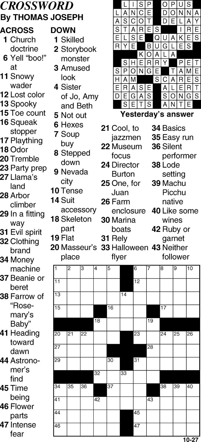 Crossword for October 27th