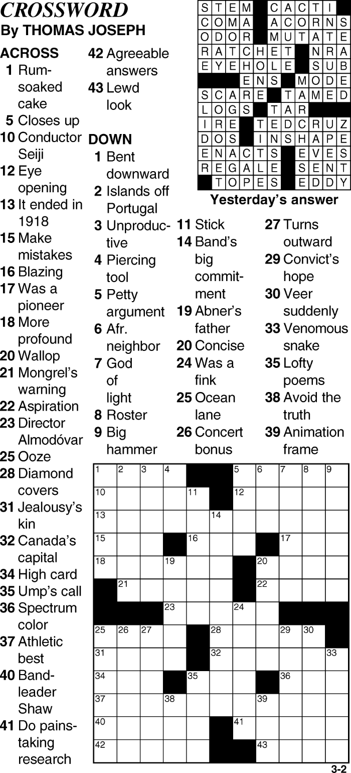 Crossword for March 2nd
