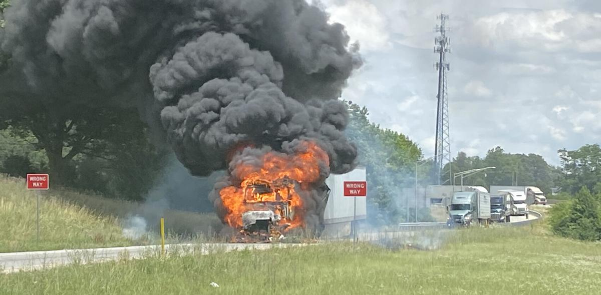 Truck fire in Glendale