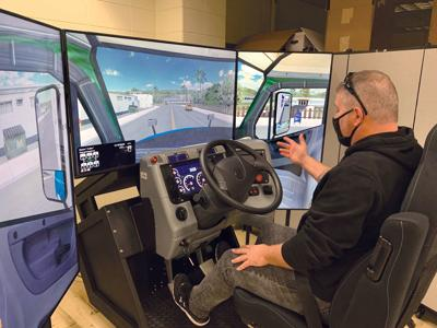 CDL students learn on truck simulator