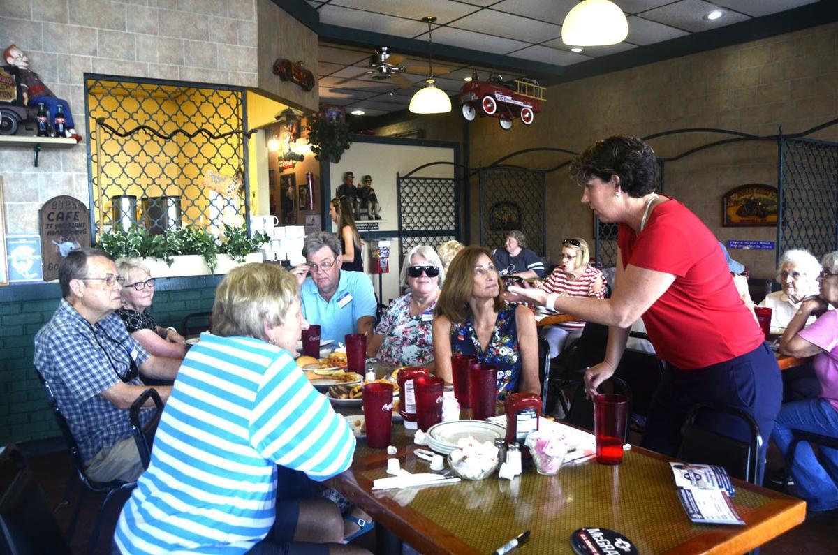 U.S. Senate candidate Amy McGrath discusses issues at campaign stop
