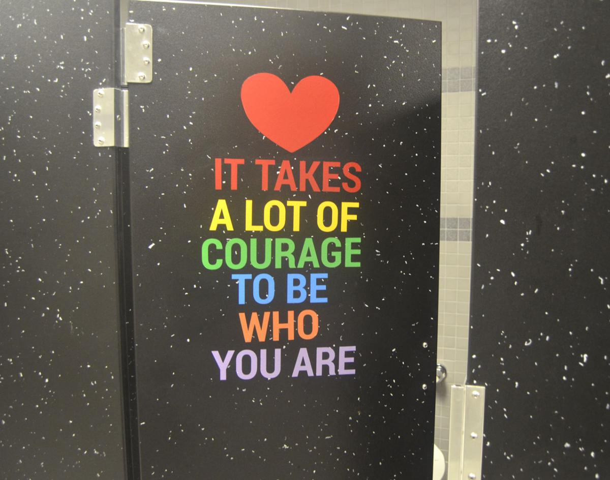 Positive messages displayed on school's restroom stalls and mirrors