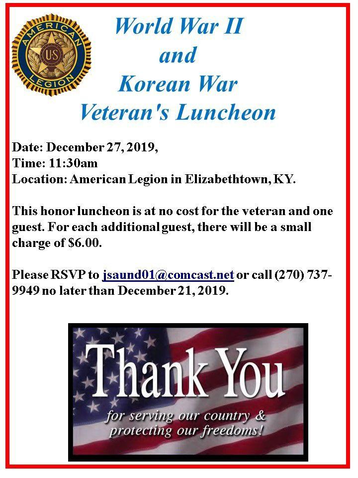 American Legion plans veterans luncheon