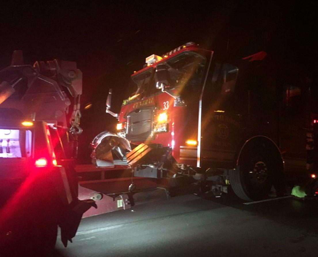 Firetruck struck by semi