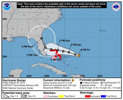 NOAA Hurricane Dorian path