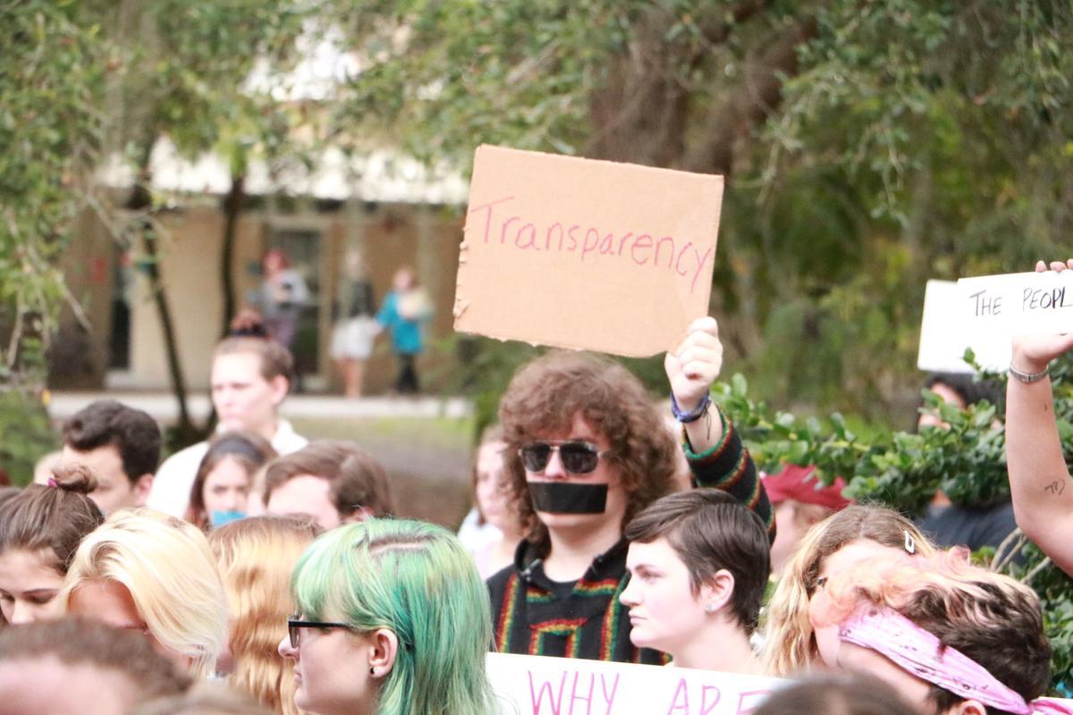 Protestor sign