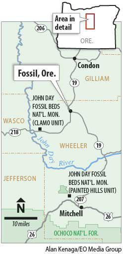 Fossil, Ore. map