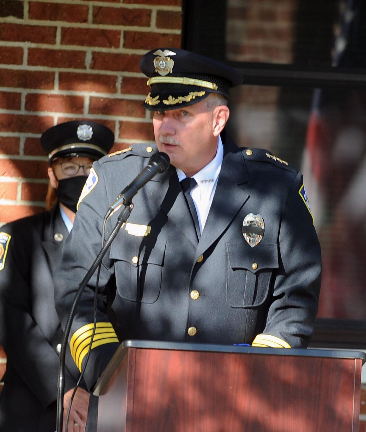 Police Chief Bob Temme speaks during a 9/11 ceremony at the Southern Pines Fire and Rescue Department.