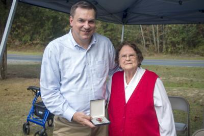 U.S. Rep. Richard Hudson, left, with Jean Brady in Carthage on Oct. 7, 2019