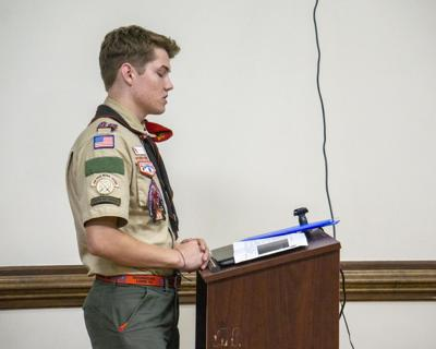 Triston O'Connor speaks during a recent meeting of the Carthage Board of Commissioners.