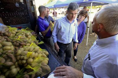 Gov. Roy Cooper visits Vass in the aftermath Hurricane Florence in 2018.
