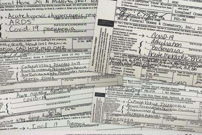 Local death certificates listing COVID-19.