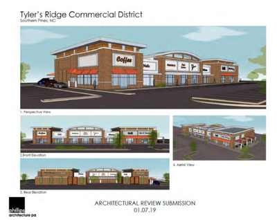 074765ea1056 Architectural rendering of the proposed shopping center at the Tyler s  Ridge development in Southern Pines. Courtesy of Phillips Architecture.