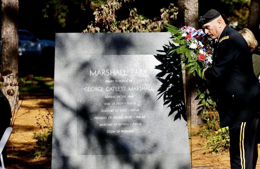 Gen. Raymond T. Odierno places a wreath near a monument honoring Gen. George C. Marshall in Pinehurst.
