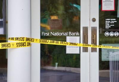 The entrance of First National Bank following an armed robbery on Sept. 14, 2020.