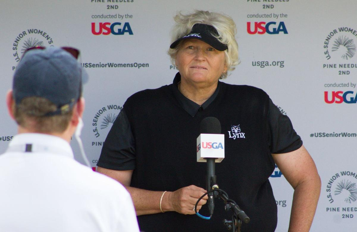 Laura Davies conducts a video interview for the USGA.