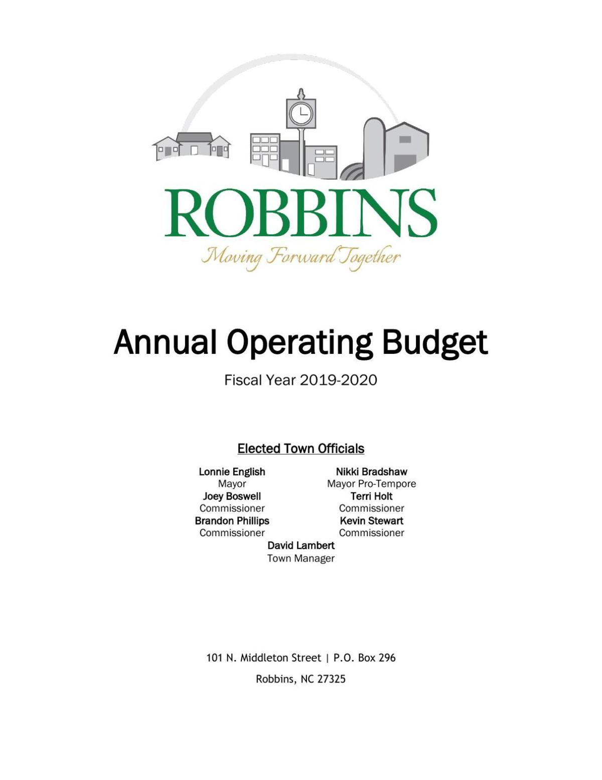 Read Robbins' Operating Budget For Fiscal Year 2019-2020
