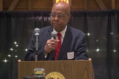 Clarence Henderson speaks at The Fair Barn