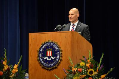 Chief Deputy Frank Rodriguez speaks during a graduation ceremony at the FBI National Academy