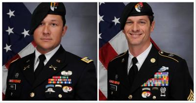 Capt. Andrew Patrick Ross, left, and  Sgt. 1st Class Eric Michael Emond