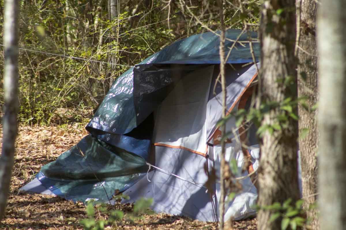Tents in an encampment for the homeless in Southern Pines